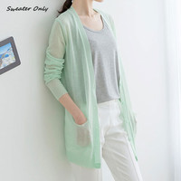 2016 new hot sale women's spring summer long sleeve candy color knit cardigans woman female Air conditioning cardigan sweaters
