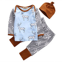 New 2016 baby boy clothing set long sleeved Deer printing t-shirt+pants +hat fashion baby boys clothes newborn infant 3pcs suit
