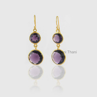 Purple Amethyst Quartz Round 14mm, 10mm Faceted Micron Gold Plated 925 Sterling Silver Dangle Earring Jewelry- #1575