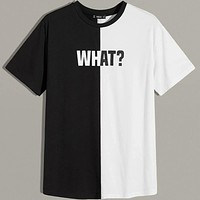 Fashion Casual Men Letter Graphic Color Block Tee