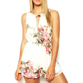 Floral Print Kehole Front Sleeveless A-Line Romper
