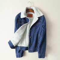 Wool Blend Lined Denim Jacket