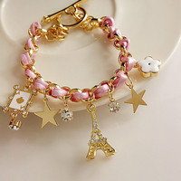Free Shipping Girly Paris Inspired Charmed Bracelet in Pink