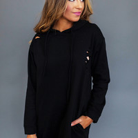 BLACK DISTRESSED HOODED TUNIC