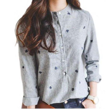 Autumn Leaves Embroidery Long Sleeve Women Blouses And Shirts Female Ladies Casual Shirt Tops Striped Plus Size Blusas