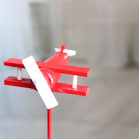 Red and White Wood Toy Plane Cake Topper