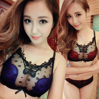 Luxury Thin section Perspective lace brand sexy gather push up bra set cozy lace flower women underwear set bra and panties