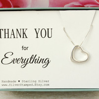 Thank you gift for friend Sterling Silver Open Heart necklace gift box Bridal shower hostess gift for baby shower hostess