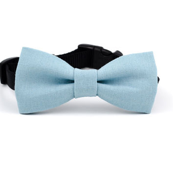 Dog Bow Tie in Dusty Blue Linen