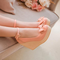 2015 new arrive fashion sexy wedges high heels women pumps PU leather ladies ankle straps wedding shoes woman Single shoes V657
