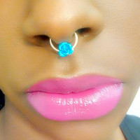 Flower septum ring - fake nose ring - faux piercing - silver fake septum - fake piercing - fake nose hoop - faux septum piercing -