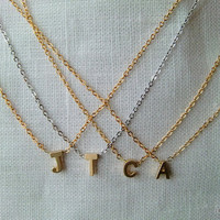 Tiny gold   letter necklace - Gold or silver  initial necklace in  your choice