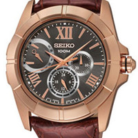 Seiko SNT046 Rose Gold Tone & Leather Strap Mens Watch