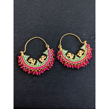 Enamel work shiny bead dangling Large hoop style Bali Earrings