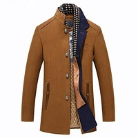 Mens Overcoat Winter Casual Thick Wool Coat Men Stand Collar Woolen Coats With Detachable Scarf Parka Casaco Masculinos Peacoat