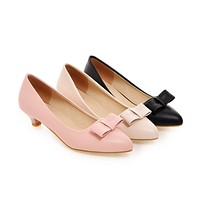 Pointed Toe Womens High Heel Shoes Bow Lady Pumps Party Dress Shoes