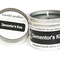 Dementor's Kiss Soy Tin Candle 4oz. Book Candle. Harry Potter Candle. Soy Tin Candle. Soy Candle.Geeky Gifts. Candles. Chocolate Candle.