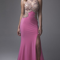 Rose Pink Long Prom Dress by Brit Cameron
