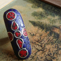 Red Coral & Lapis Lazuli 925 Silver Overlay Ring Size Adjustable Ladies Retro Bohemian
