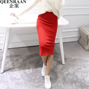 2017 New Autumn Winter Women Lace Up Long Skirts Sexy Package Hip Work Pencil Skirt Female Slim Step Stretch Waist Maxi Skirts