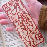 Art Nouveau Script Font Bookmark, Red Tan Reading Theme, FREE SHIPPING