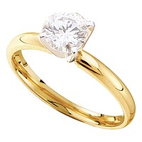 14kt Yellow Gold Womens Round Diamond Solitaire Bridal Wedding Engagement Ring 7/8 Cttw - FREE Shipping (US/CAN)
