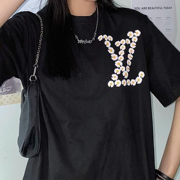 LV x Peaceminusone printed letter crew neck half-sleeved T-shirt