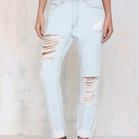 Nasty Gal Denim - The Wreckage Light Wash Boyfriend