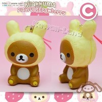 Rilakkuma Strawberry Hugging Squishy Phone Charm