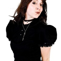 Gothic Lolita Blouse - Victorian Steampunk top with Peter Pan Collar-  Black Cotton and Lace-Custom to Your Size