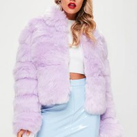 Missguided - Lilac Crop Pelted Faux Fur Coat