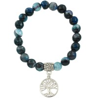Healing Beaded Tree of Life Bracelet in Black Blue Agate