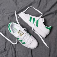 """Adidas"" Superstar Shell toe White/Green Casual Sneakers"