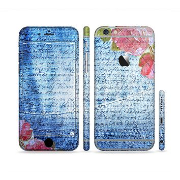 The Vintage Denim & Pink Floral Sectioned Skin Series for the Apple iPhone6/6s Plus