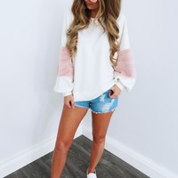 That's What I Like Sweater: White/Pink