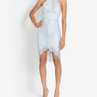 LOVER EXCLUSIVE LACE-Up Back Fitted Lace Dress at INTERMIX | Shop Now | Shop IntermixOnline.com