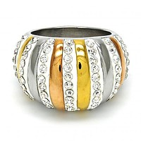 Stainless Steel Multi Stone Ring, with Crystal, Tri Tone