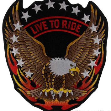 """Live to Ride Flying Screaming Eagle Patch Embroidered Motorcycle Jacket Bike 12"""""""