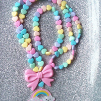 Sweet Skies - Pastel Happy Rainbow and Hearts Necklace with Matching Stretch Bracelet