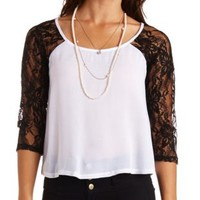 Color Block Lace Raglan Swing Top by Charlotte Russe - Ivory Combo