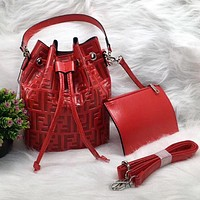 FENDI Trending Women Leather Handbag Crossbody Satchel Shoulder Bag Clutch Bag Set Two Piece Red