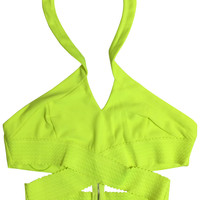 Yellow (Neon) Keyhole Rave Crop Top