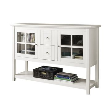 """52"""" Wood Console Table TV Stand - White"""