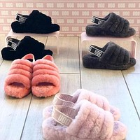 UGG slippers warm and fluffy new female fashion fluff casual high-quality slippers shoes