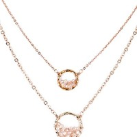 Panacea Crystal Circle Double Chain Necklace | Nordstrom