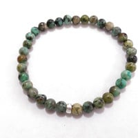 Natural African Turquoise - Therapeutic Quality Gemstone Bracelet For Energy 6mm - Stretchy