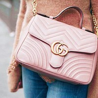 Gucci sells lady's double G fashion V-type leather mini-handbag 2#