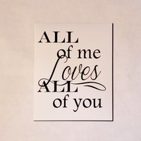 Love All Wedding, Anniversary, Love Art Print. Typography 8x10 Print.