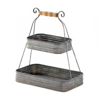 2-Tier Rustic Charm Wood and Tin Display Serving Dual Level Bucket Baskets
