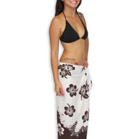Hawaiian Sarong with Brown and White Hibiscus